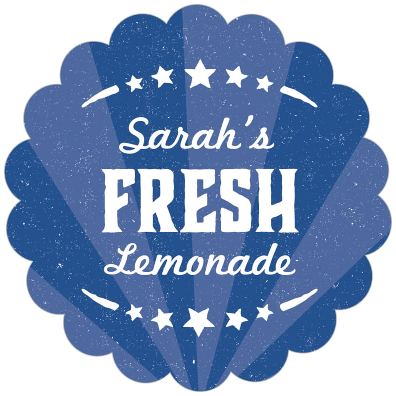 scallop food/craft labels - deep blue - lemonade stand (set of 20)