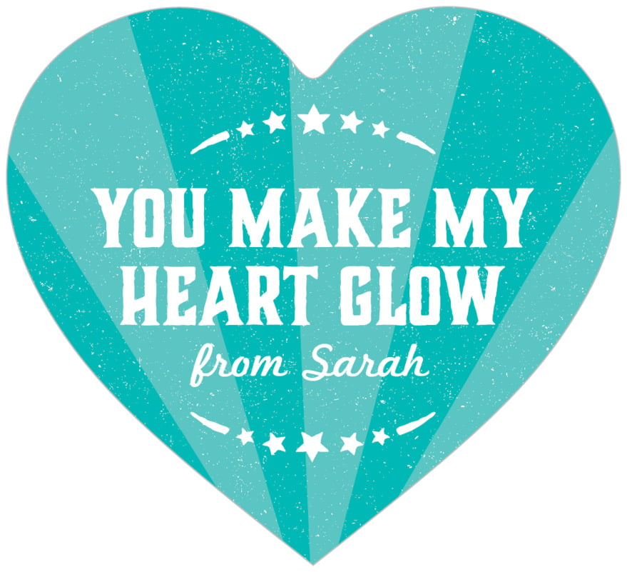 small heart food/craft labels - turquoise - lemonade stand (set of 20)