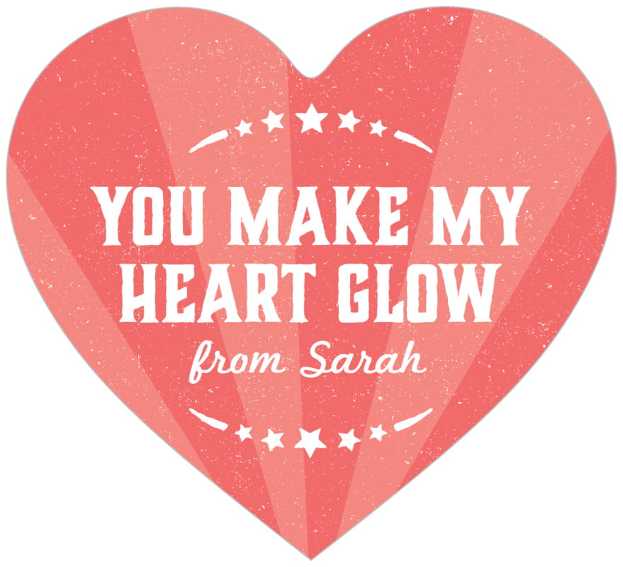 small heart food/craft labels - deep coral - lemonade stand (set of 20)