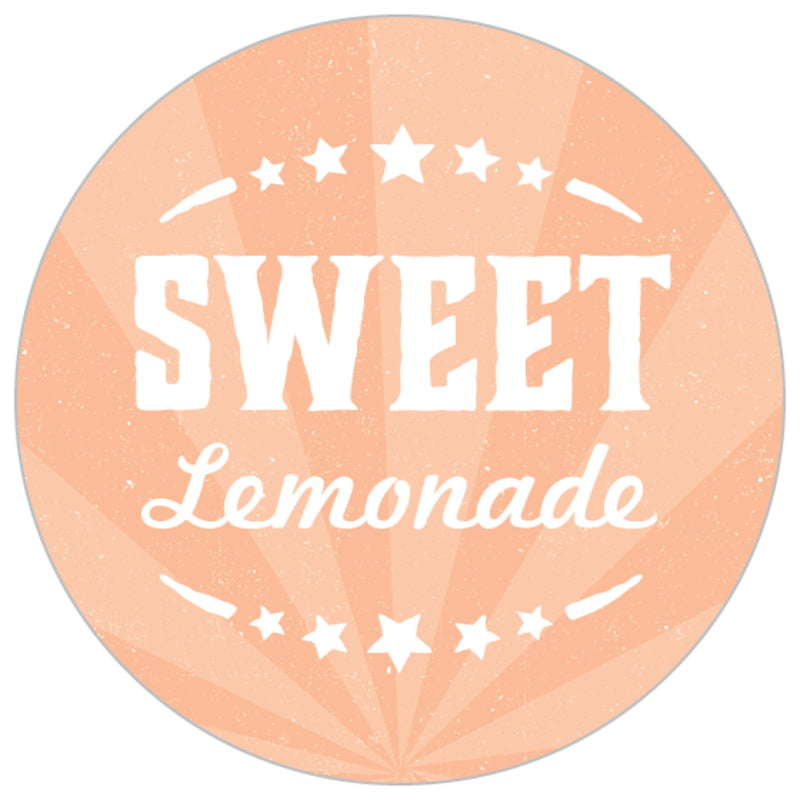 small circle food/craft labels - peach - lemonade stand (set of 70)