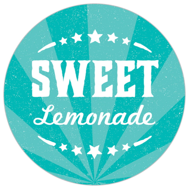 small circle food/craft labels - turquoise - lemonade stand (set of 70)
