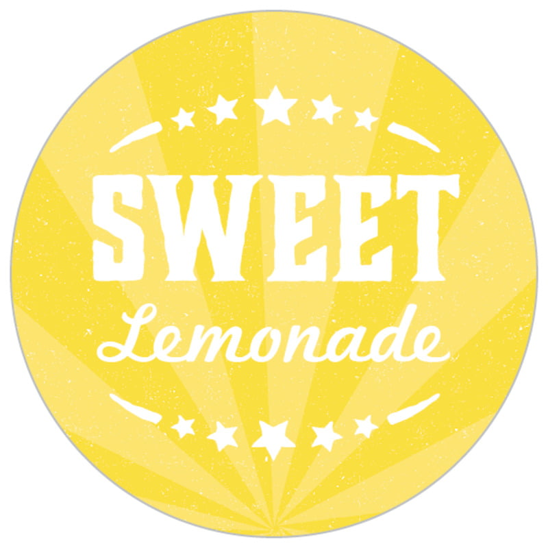 small circle food/craft labels - yellow - lemonade stand (set of 70)