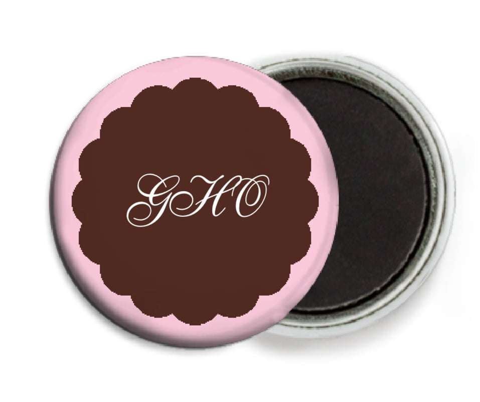 custom button magnets - cocoa & pink - luxe (set of 6)