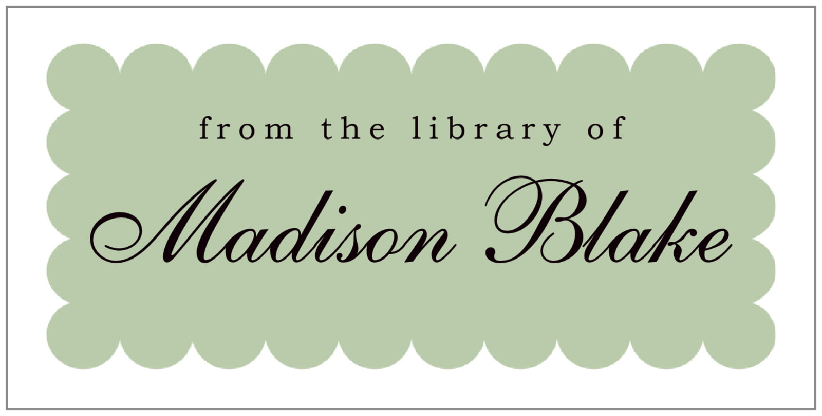 bookplates for everyone - sage - luxe (set of 24)