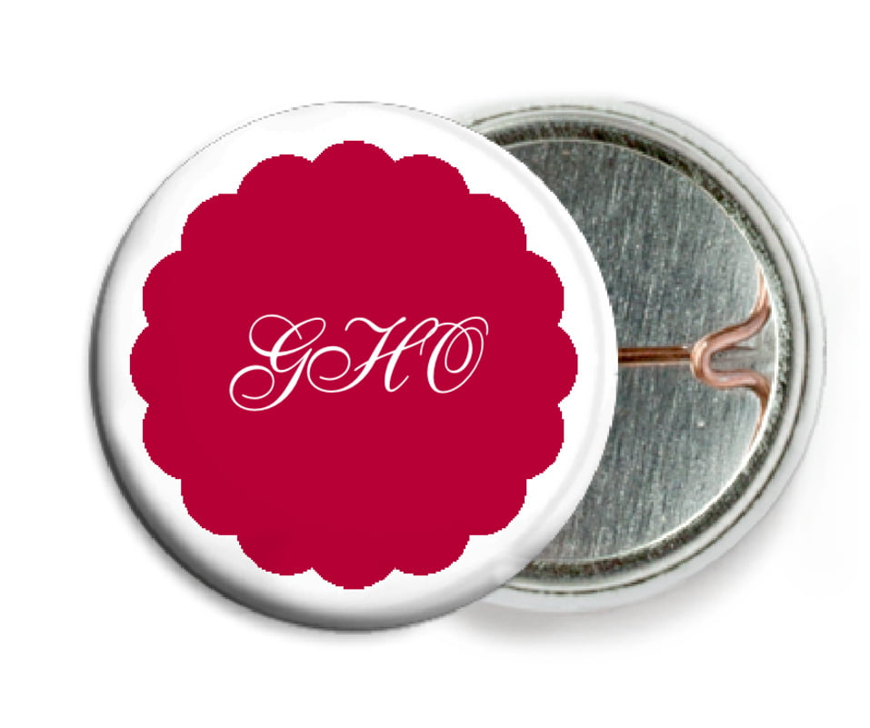 custom pin back buttons - deep red - luxe (set of 6)