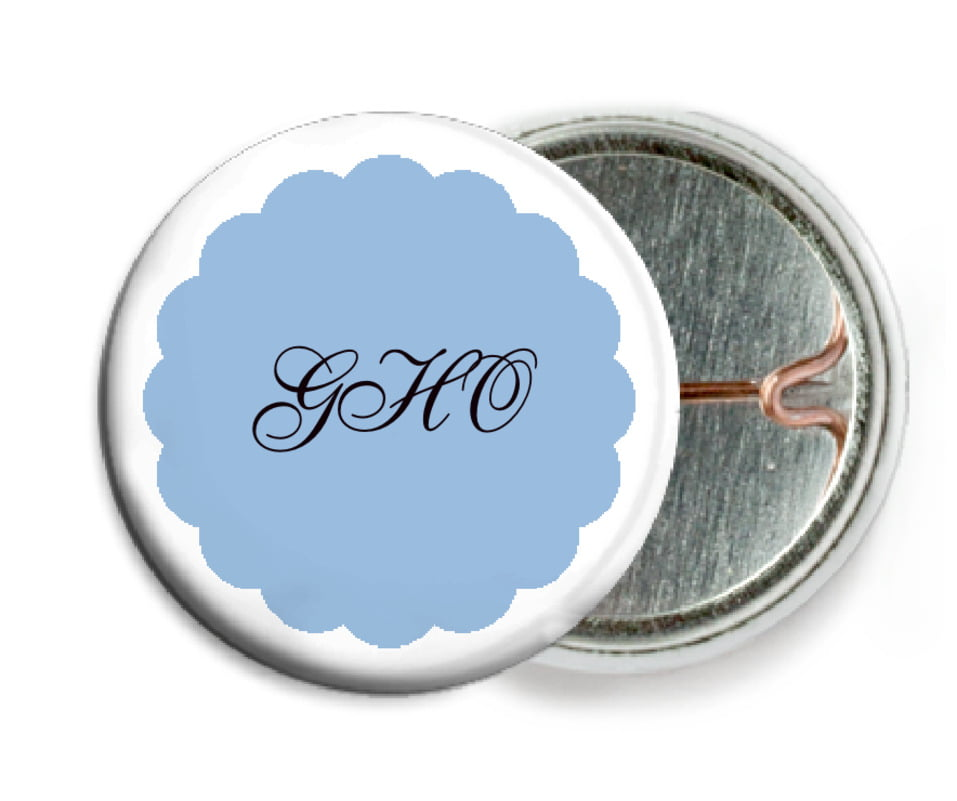 custom pin back buttons - blue - luxe (set of 6)