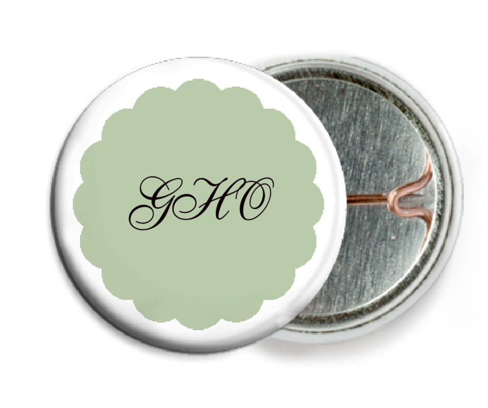 custom pin back buttons - sage - luxe (set of 6)