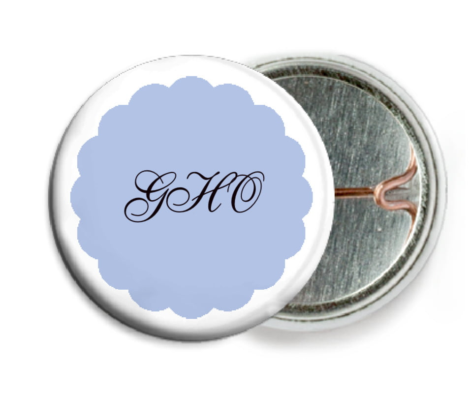 custom pin back buttons - periwinkle - luxe (set of 6)