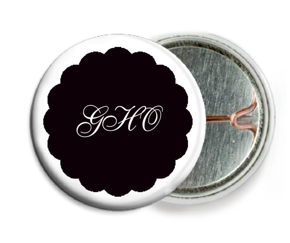custom pin back buttons - tuxedo - luxe (set of 6)
