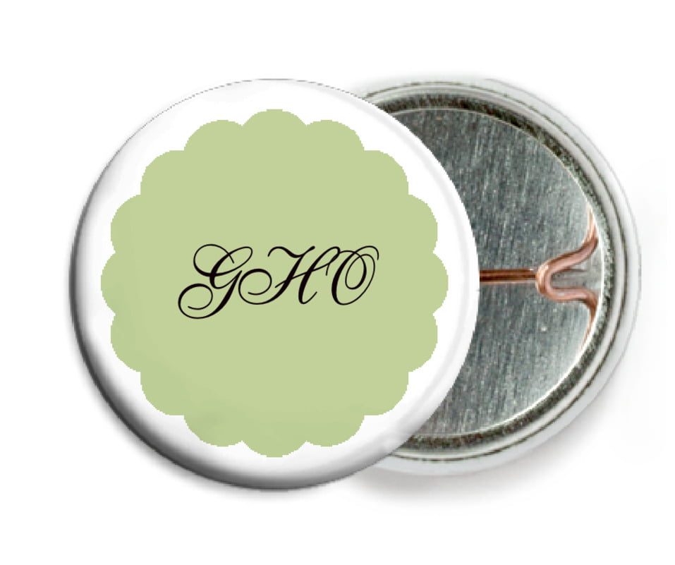 custom pin back buttons - green tea - luxe (set of 6)