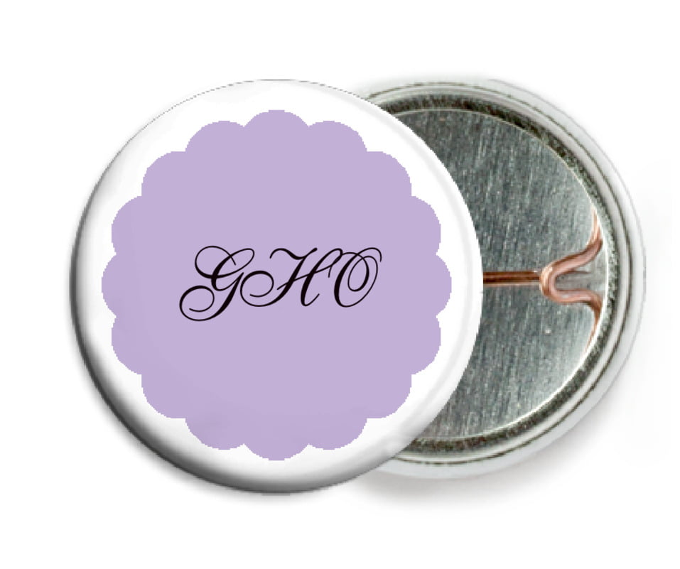 custom pin back buttons - lilac - luxe (set of 6)