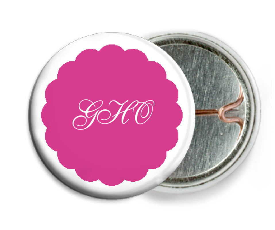 custom pin back buttons - bright pink - luxe (set of 6)