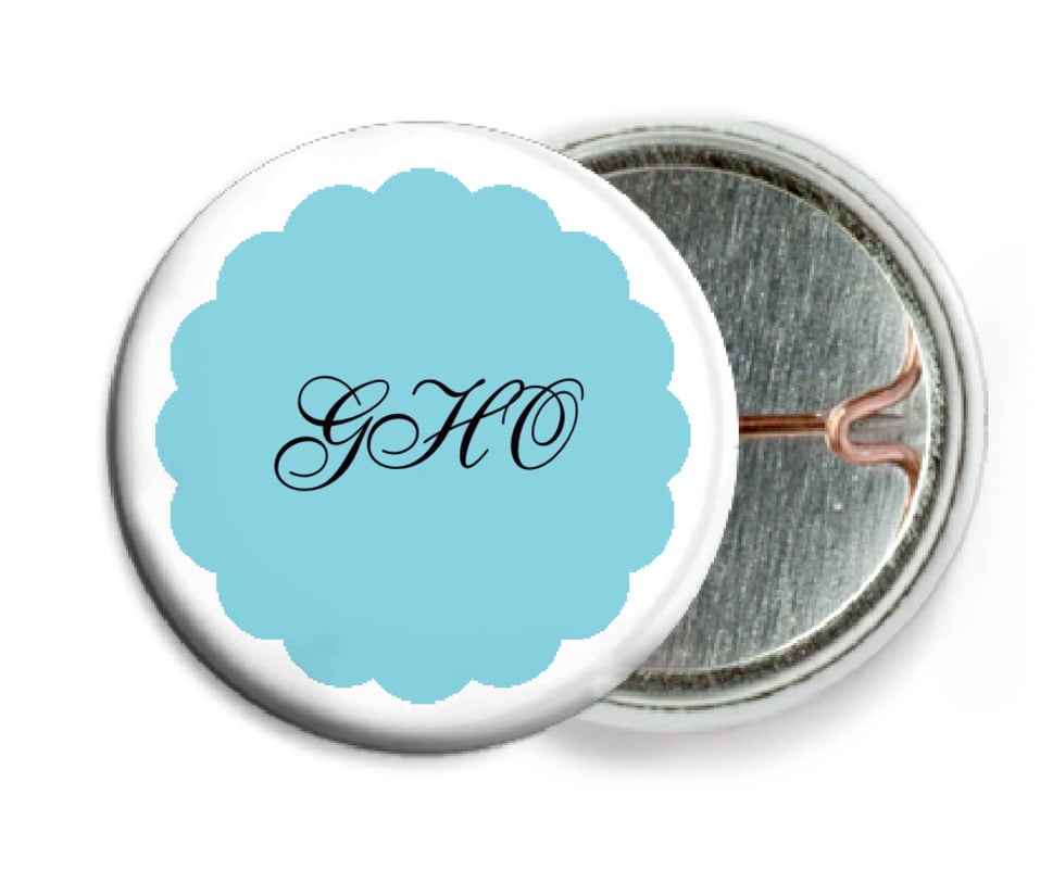 custom pin back buttons - bahama blue - luxe (set of 6)