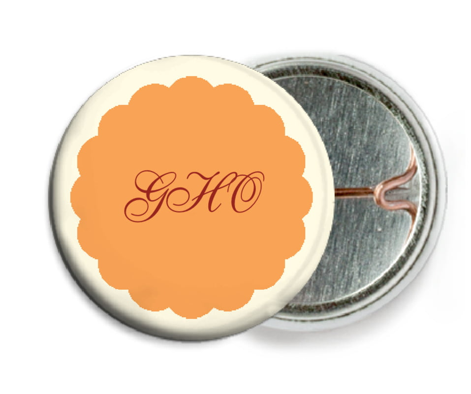custom pin back buttons - tangerine - luxe (set of 6)