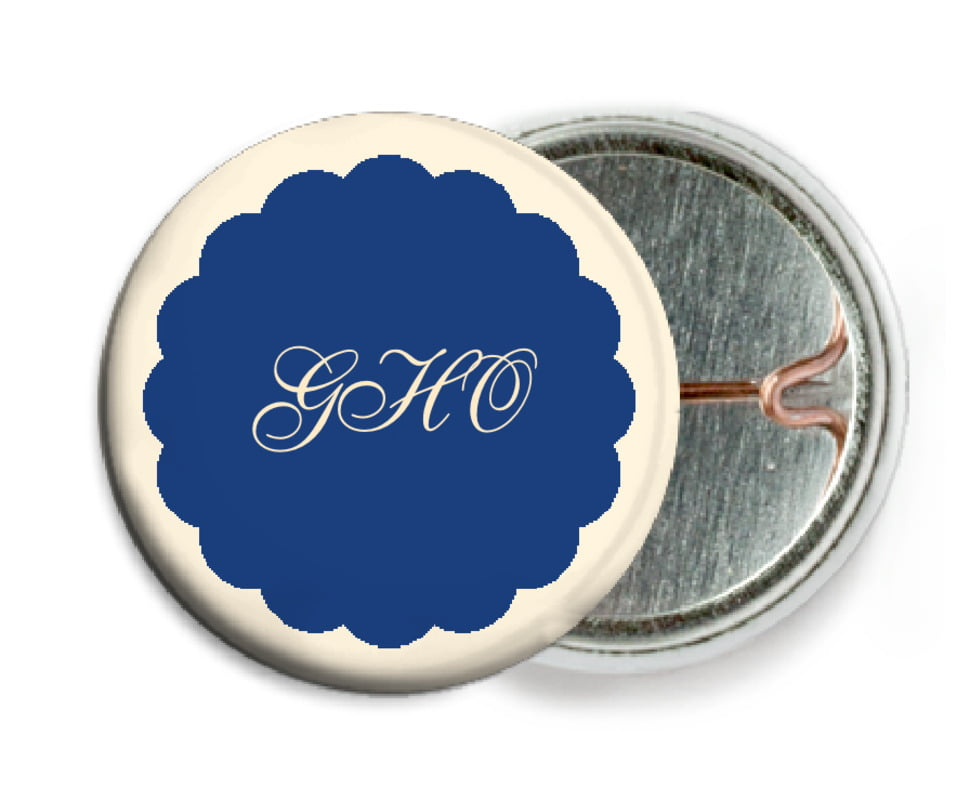custom pin back buttons - deep blue - luxe (set of 6)