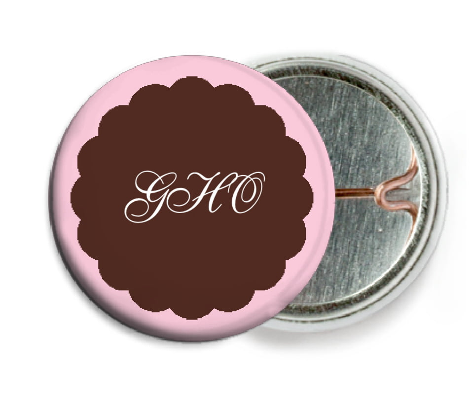 custom pin back buttons - cocoa & pink - luxe (set of 6)