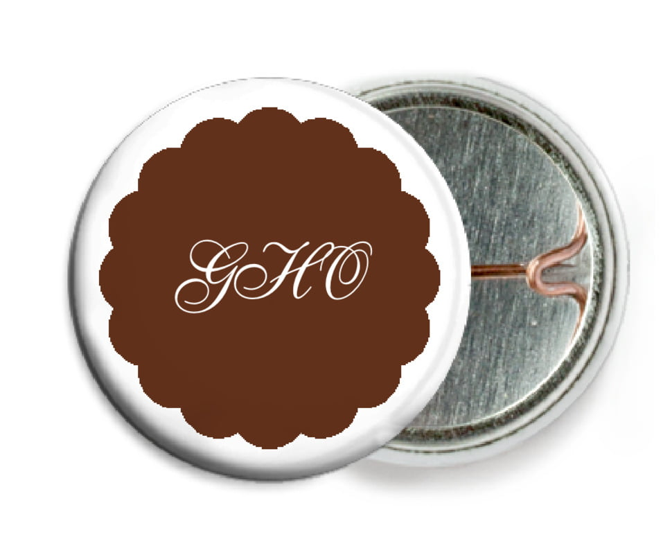 custom pin back buttons - chocolate - luxe (set of 6)