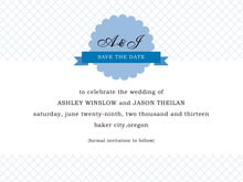 custom save-the-date cards - blue - luxe (set of 10)