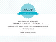 custom save-the-date cards - bahama blue - luxe (set of 10)