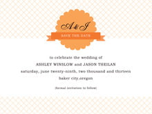 custom save-the-date cards - tangerine - luxe (set of 10)
