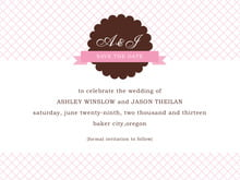 custom save-the-date cards - cocoa & pink - luxe (set of 10)