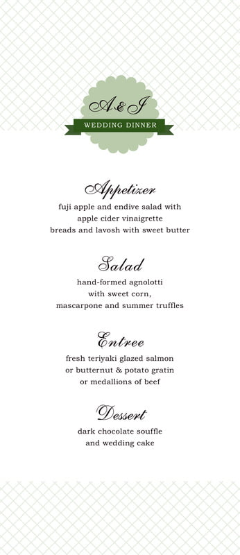custom menus - sage - luxe (set of 10)