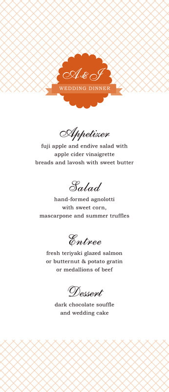 custom menus - spice - luxe (set of 10)