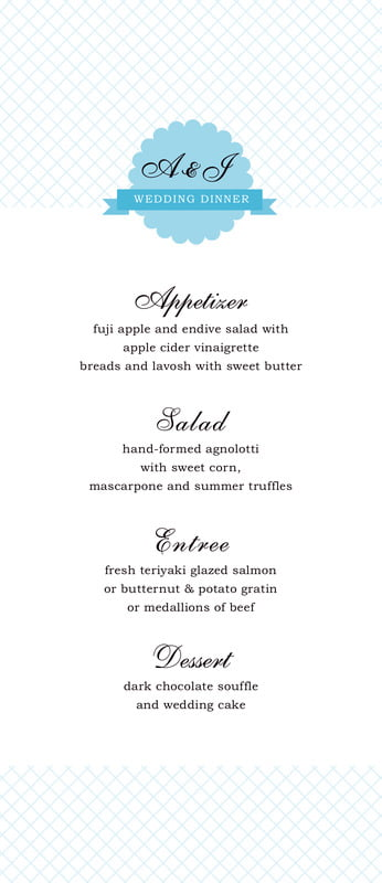 custom menus - sky - luxe (set of 10)