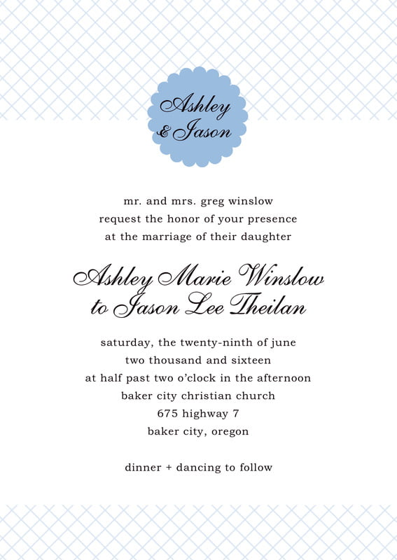 custom invitations - blue - luxe (set of 10)