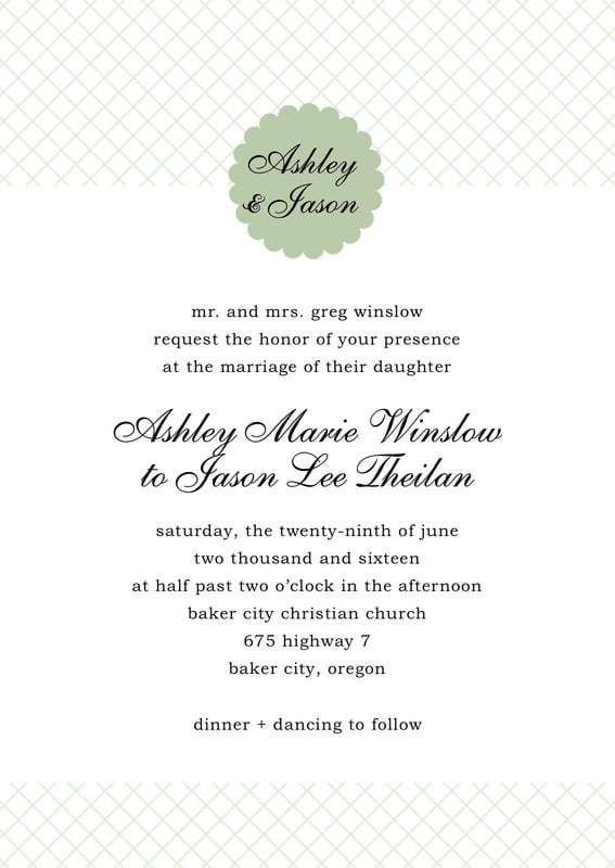 custom invitations - sage - luxe (set of 10)