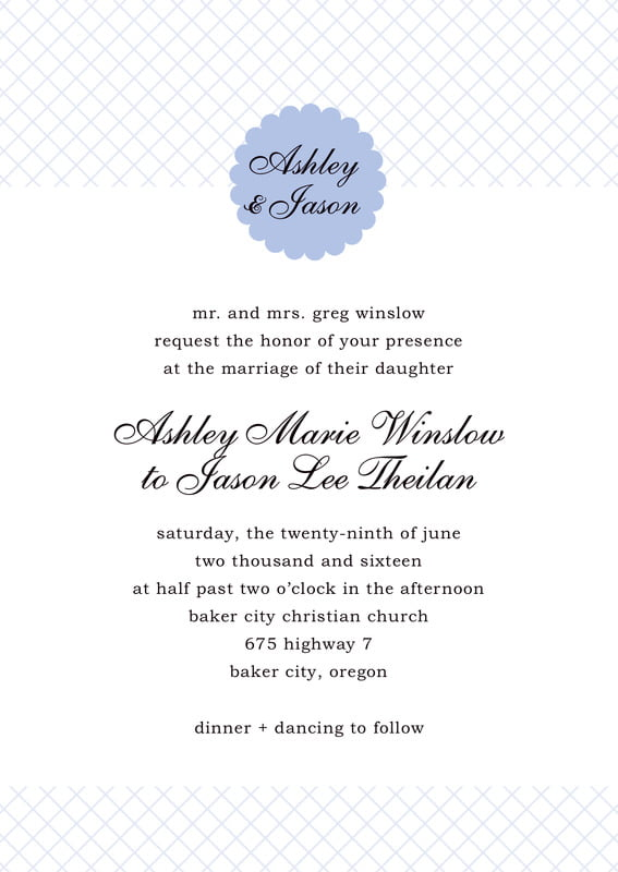 custom invitations - periwinkle - luxe (set of 10)