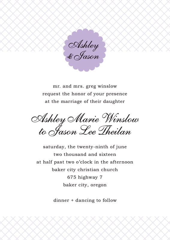 custom invitations - lilac - luxe (set of 10)