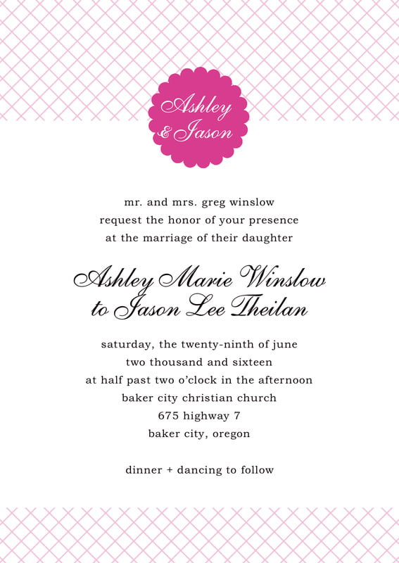 custom invitations - bright pink - luxe (set of 10)