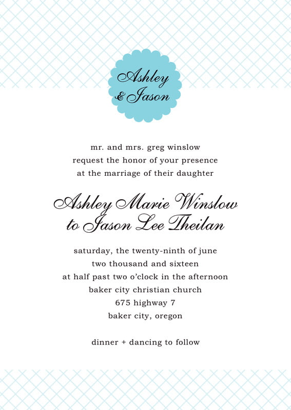 custom invitations - bahama blue - luxe (set of 10)