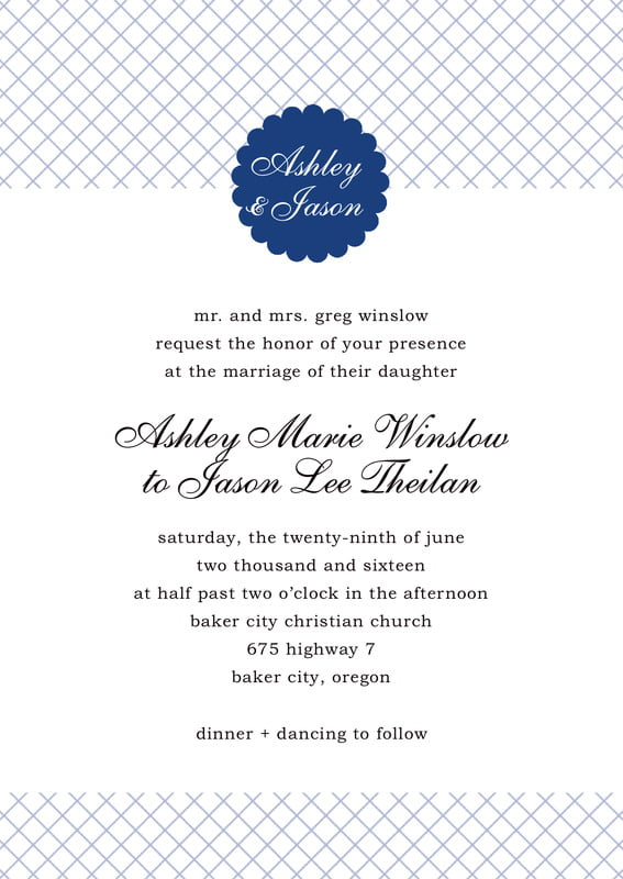 custom invitations - deep blue - luxe (set of 10)