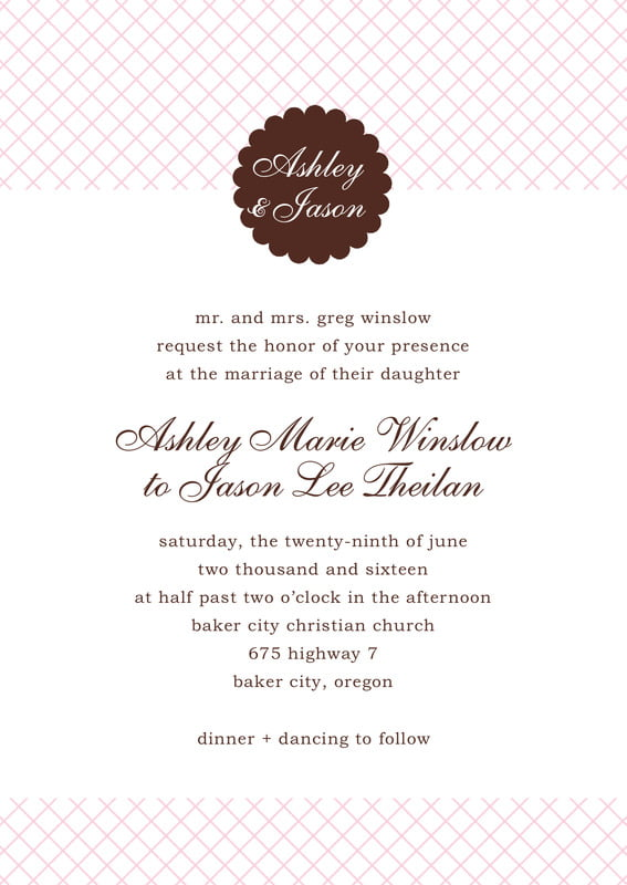 custom invitations - cocoa & pink - luxe (set of 10)