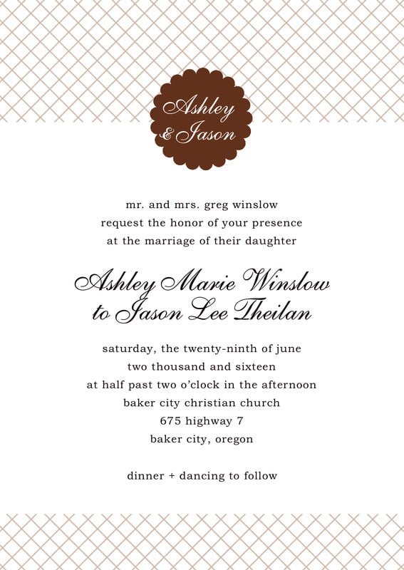 custom invitations - chocolate - luxe (set of 10)