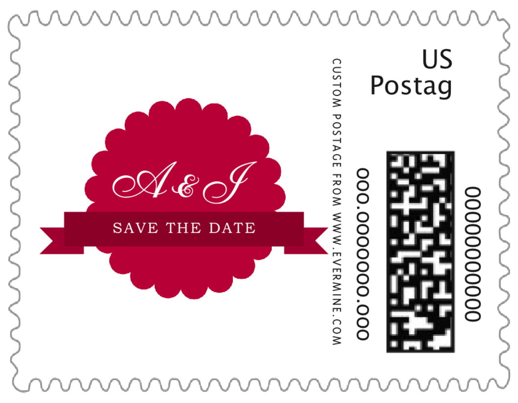 small custom postage stamps - deep red - luxe (set of 20)