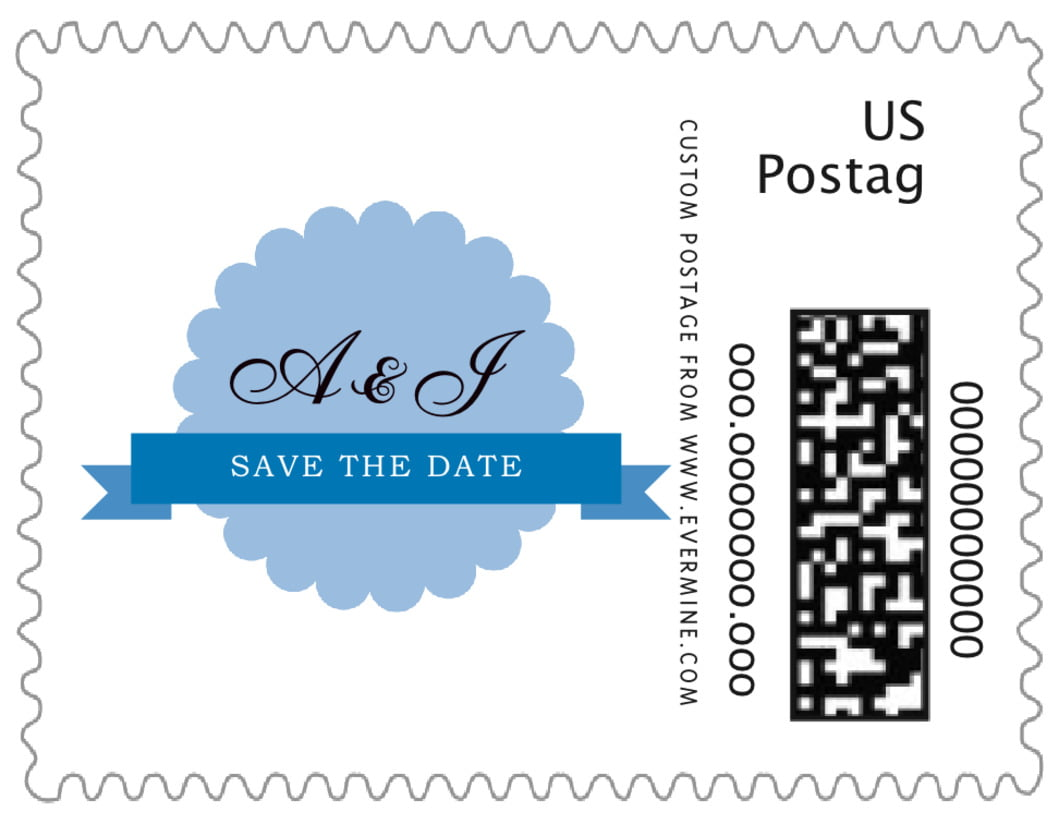 small custom postage stamps - blue - luxe (set of 20)