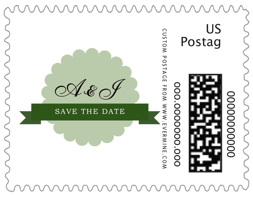 small custom postage stamps - sage - luxe (set of 20)