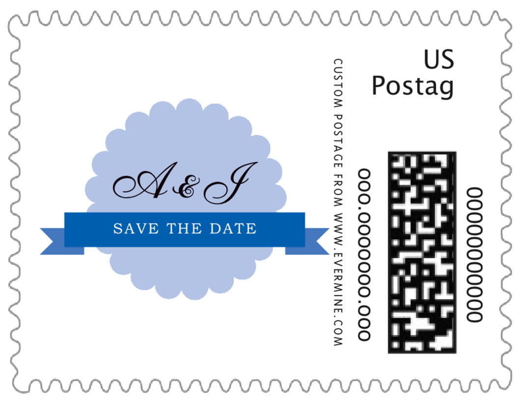 small custom postage stamps - periwinkle - luxe (set of 20)