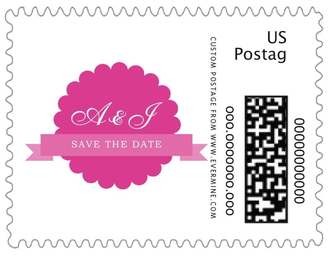 small custom postage stamps - bright pink - luxe (set of 20)