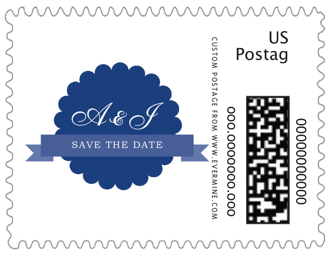 small custom postage stamps - deep blue - luxe (set of 20)