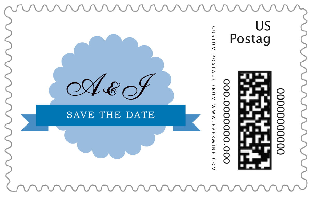 custom large postage stamps - blue - luxe (set of 20)