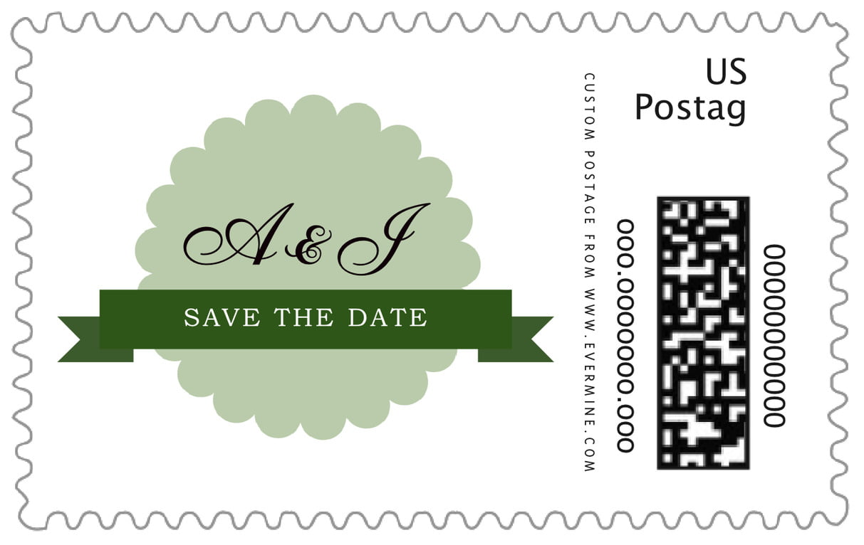 custom large postage stamps - sage - luxe (set of 20)