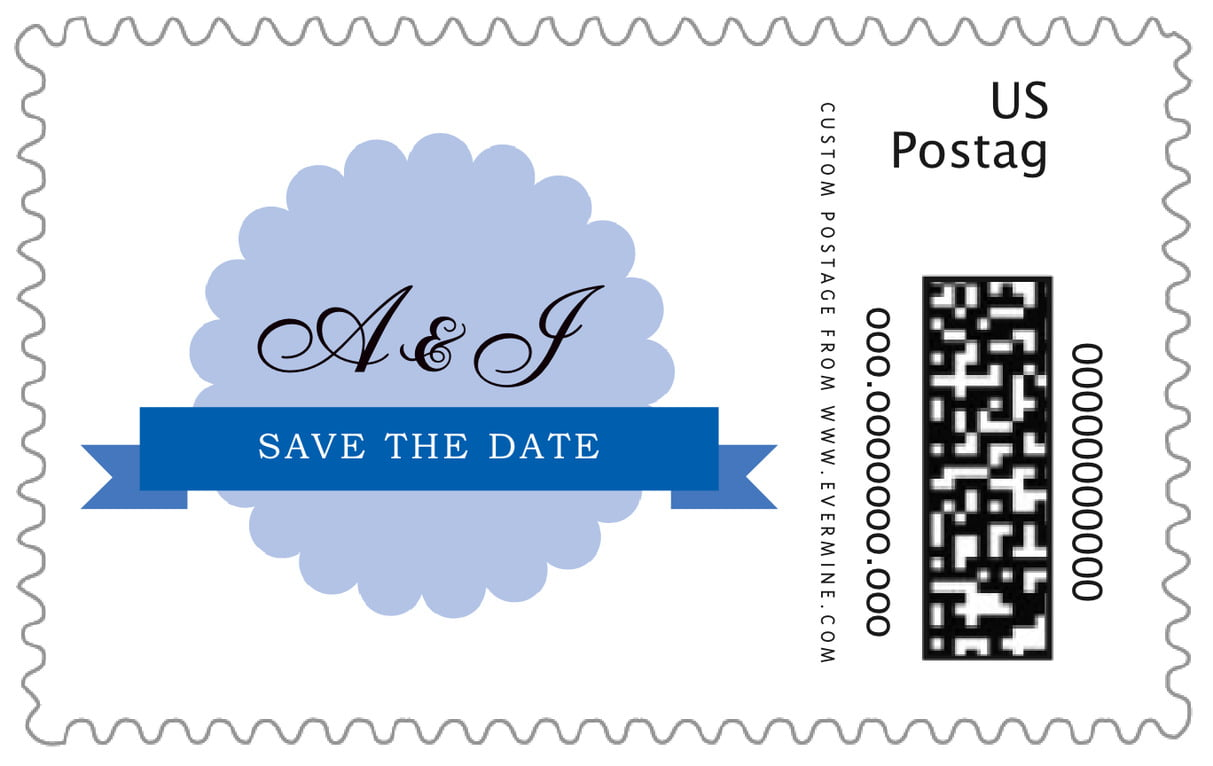 custom large postage stamps - periwinkle - luxe (set of 20)