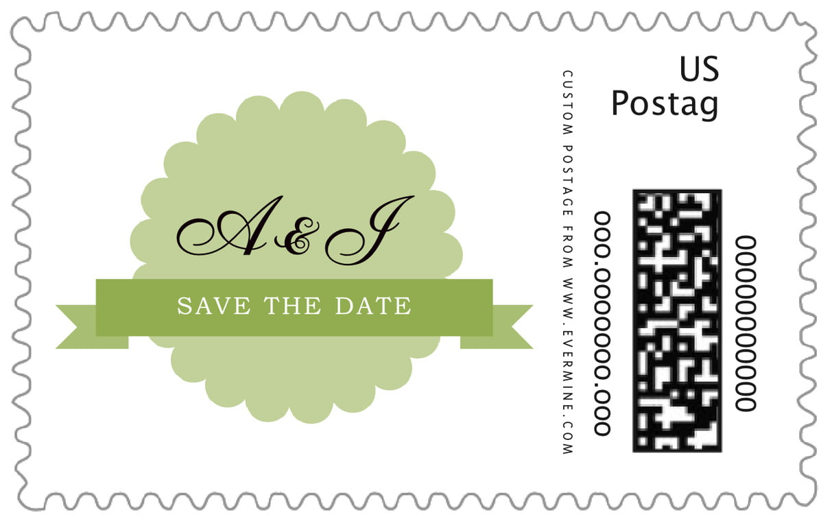 custom large postage stamps - green tea - luxe (set of 20)