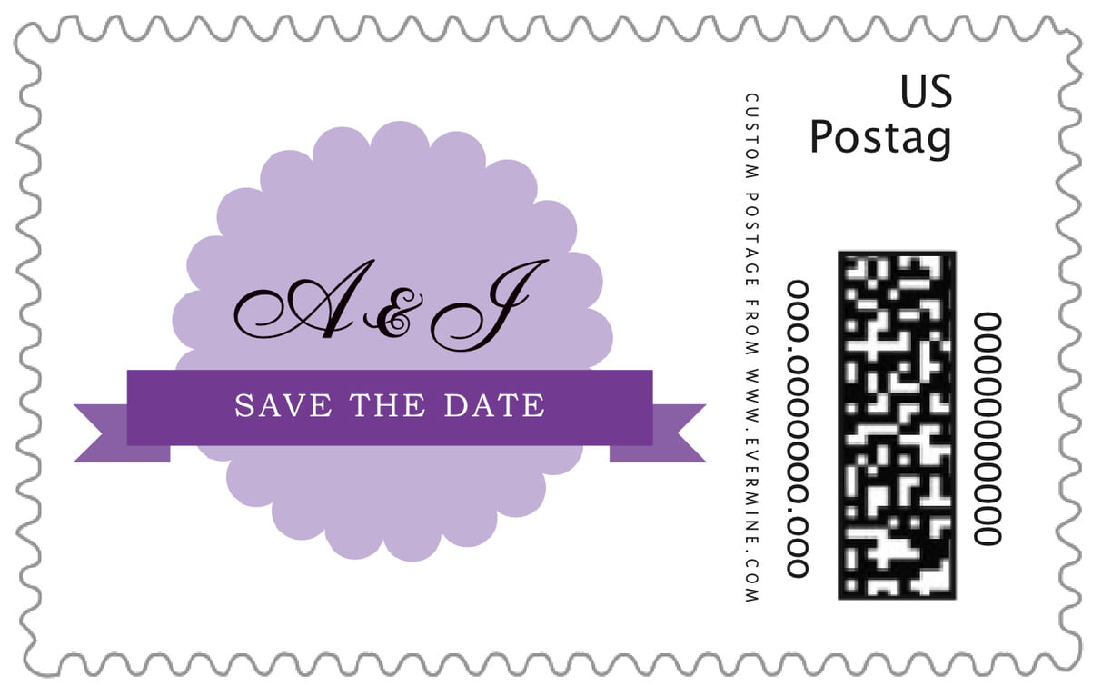 custom large postage stamps - lilac - luxe (set of 20)