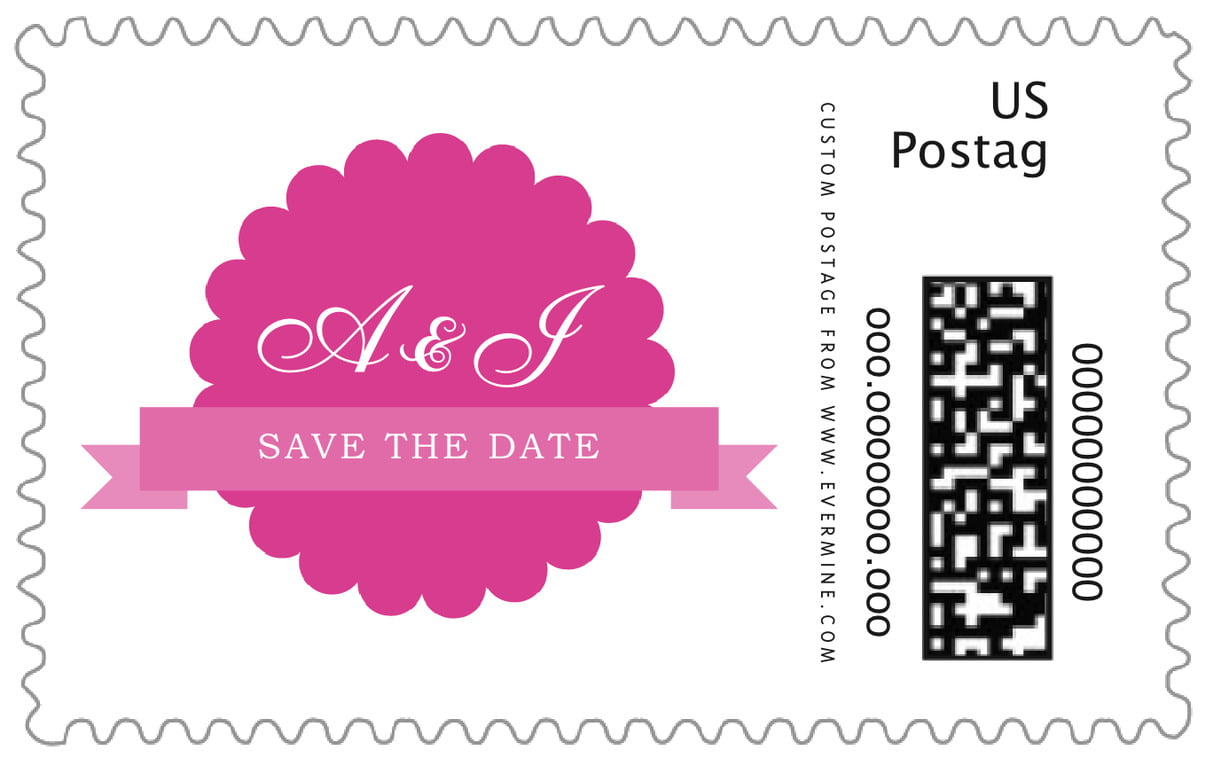 custom large postage stamps - bright pink - luxe (set of 20)