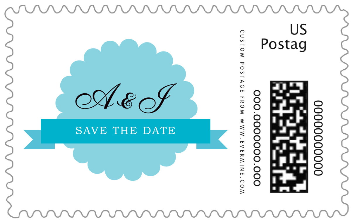 custom large postage stamps - bahama blue - luxe (set of 20)